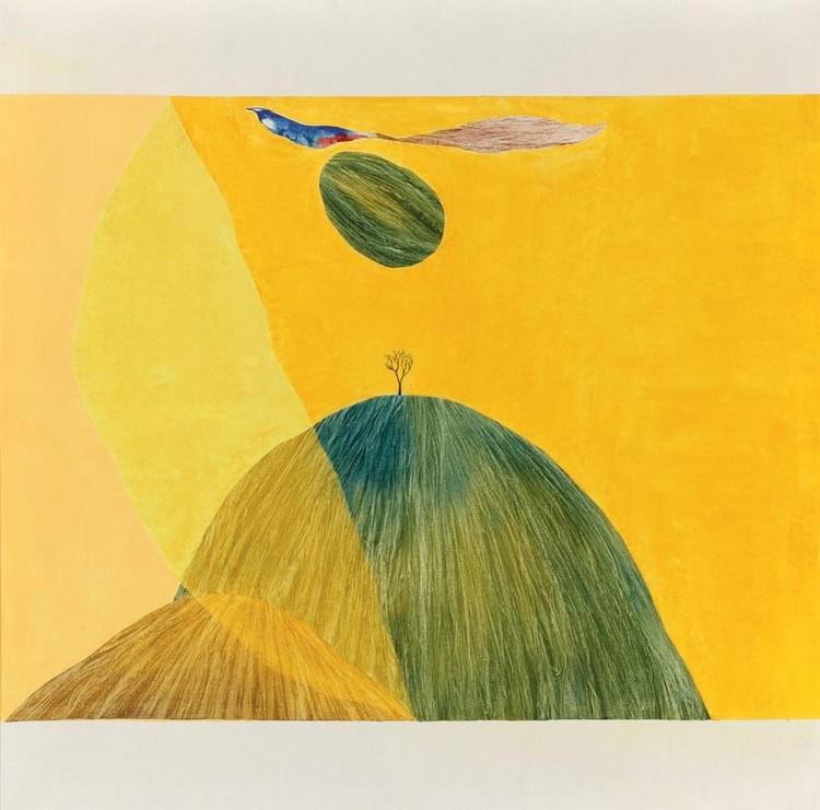 Pájaro, montaña y árbol, 1974, J. Swaminathan